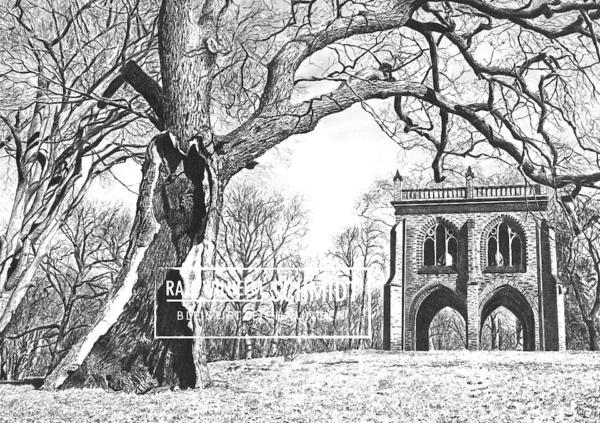 Park Babelsberg, Potsdam, Zeichnung von Ralf Wilhelm Schmidt