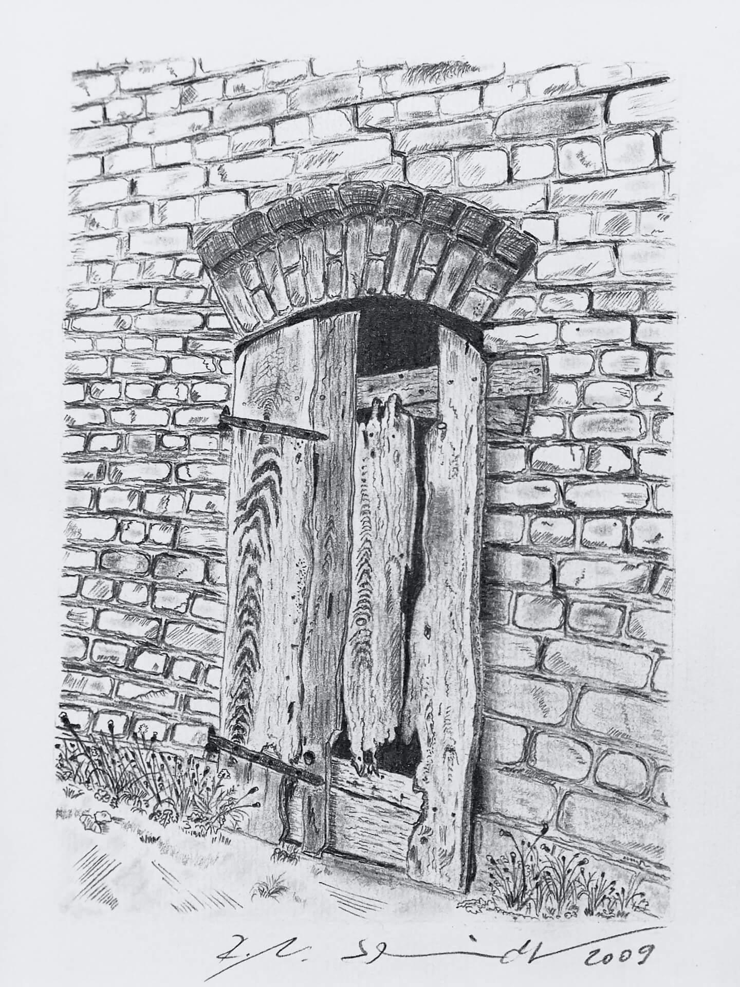 Bleistiftzeichnung Tür